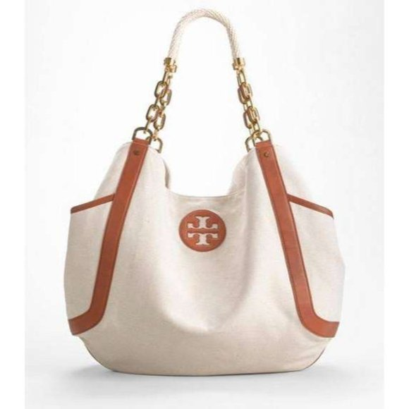 RARE Tory Burch Extra Large Canvas Tote Travel Bag